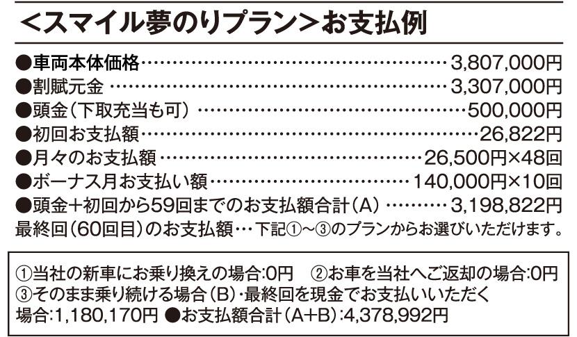車両本体価格 3,807,000円(税込)