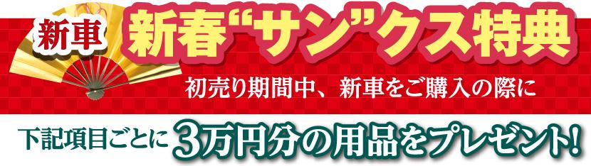 """新車 新春""""サン""""クス特典:初売り期間中、新車をご購入の際に下記項目ごとに3万円の用品をプレゼント!"""