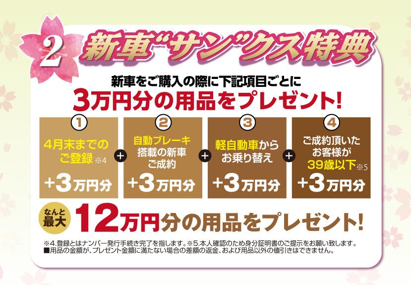 """2.新車""""サン""""クス特典、新車をご購入の際に下記項目ごとに3万円分の用品をプレゼント"""