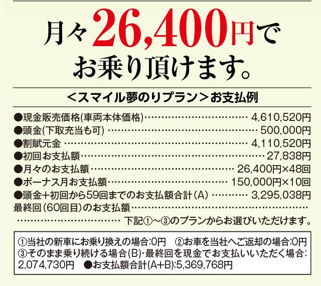 新型アルファード HYBRID S 月々26,400円でお乗り頂けます。