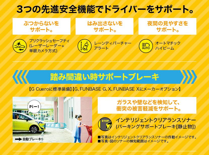 3つの先進安全機能でドライバーをサポート。
