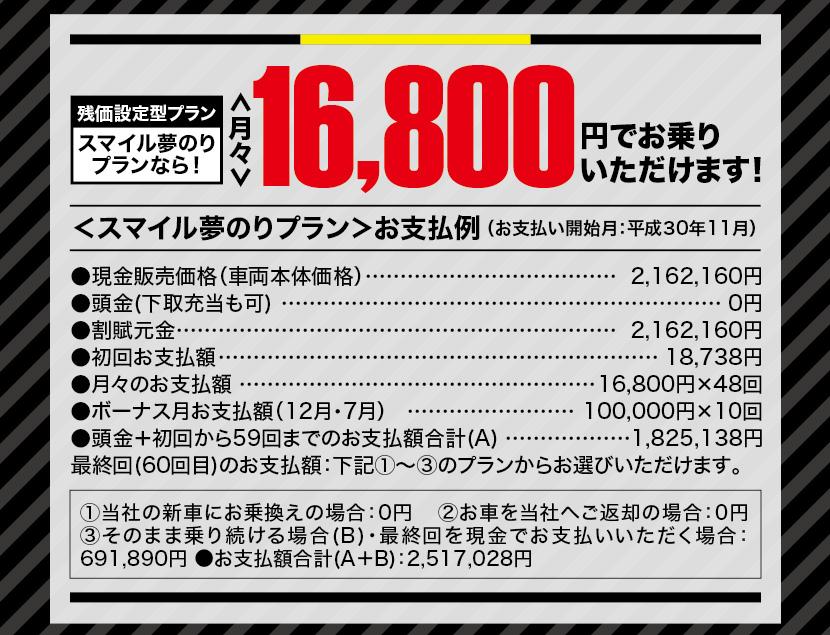 残価設定型プランスマイル夢のりプランなら!月々16,800円でお乗りいただけます!