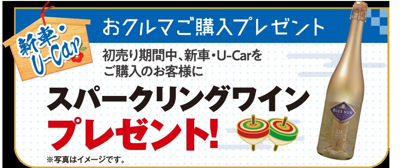 新車・U-Car おクルマご購入プレゼント 初売り期間中、新車・U-Carをご購入のお客様にスパークリングワインプレゼント!
