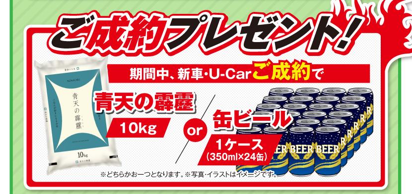 ご成約プレゼント! 期間中、新車・U-Carご成約で青天の霹靂(10kg)or 缶ビール1ケース(350ml×24缶)※どちらかお一つとなります。