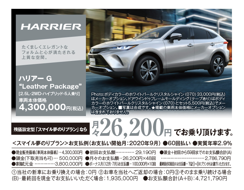"""HARRIER:たくましくエレガントなフォルムと心が満たされる上質な空間。ハリアー G """"Leather Package""""[2.5L・2WD・ハイブリッド・5人乗り]車両本体価格4,300,000円(税込)Photo:ボディカラーのホワイトパールクリスタルシャイン〈070〉33,000円(税込)はメーカーオプション。ドアウインドゥフレームモールディング(テープあり)はボディカラーのホワイトパールクリスタルシャイン〈070〉とセット5,500円(税込)でメーカーオプション。■写真は合成です。★掲載の車両本体価格にメーカーオプションは含まれておりません。残価設定型「スマイル夢のりプラン」なら月々26,200円でお乗りいただけます。"""